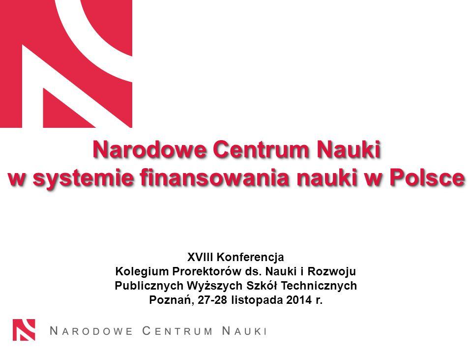 Narodowe Centrum Nauki w systemie finansowania nauki w Polsce Narodowe Centrum Nauki w systemie finansowania nauki w Polsce XVIII Konferencja Kolegium Prorektorów ds.