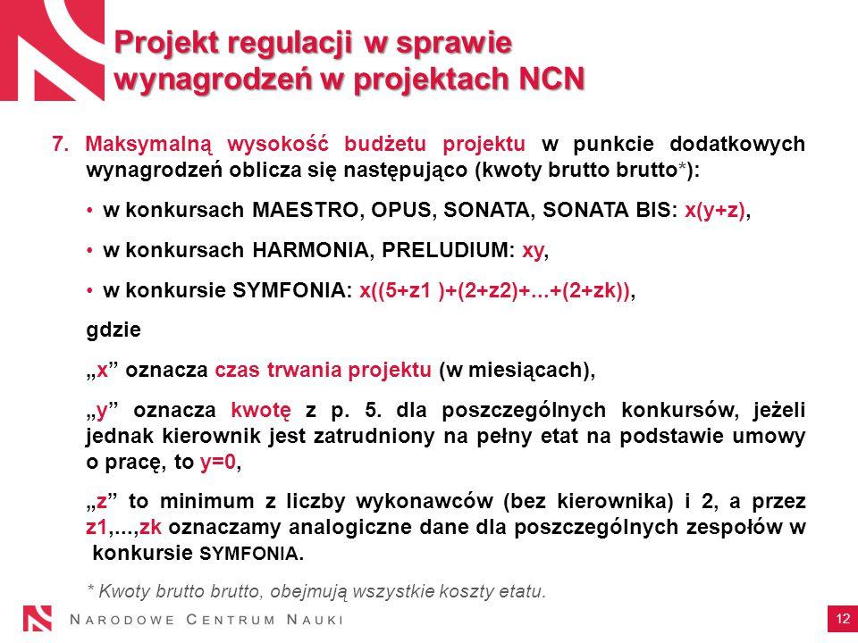 12 Projekt regulacji w sprawie wynagrodzeń w projektach NCN 7.