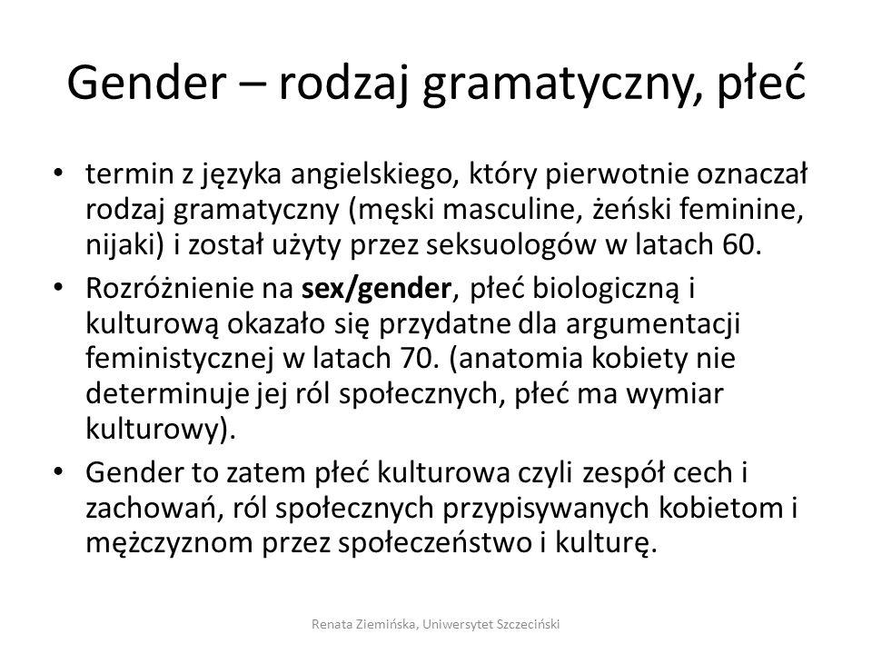 Gender – rodzaj gramatyczny, płeć termin z języka angielskiego, który pierwotnie oznaczał rodzaj gramatyczny (męski masculine, żeński feminine, nijaki