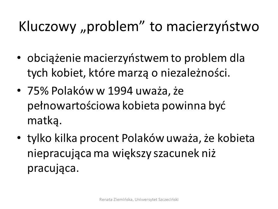 """Kluczowy """"problem"""" to macierzyństwo obciążenie macierzyństwem to problem dla tych kobiet, które marzą o niezależności. 75% Polaków w 1994 uważa, że pe"""