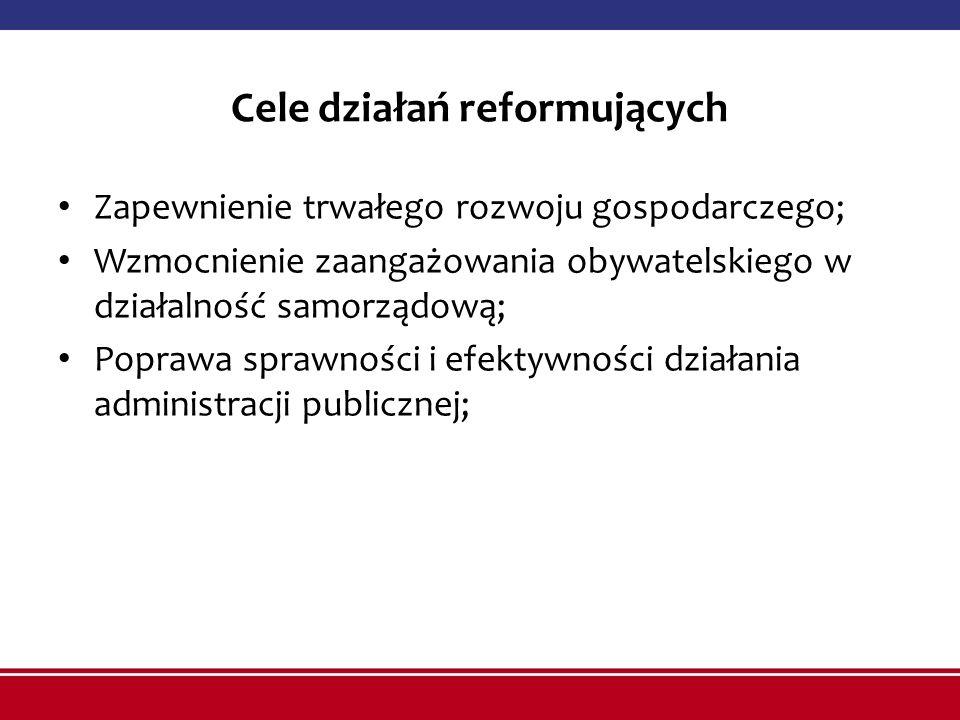 Cele działań reformujących Zapewnienie trwałego rozwoju gospodarczego; Wzmocnienie zaangażowania obywatelskiego w działalność samorządową; Poprawa sprawności i efektywności działania administracji publicznej;