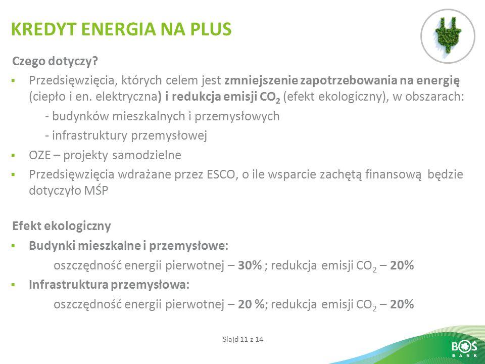 Slajd 11 z 14 Czego dotyczy?  Przedsięwzięcia, których celem jest zmniejszenie zapotrzebowania na energię (ciepło i en. elektryczna) i redukcja emisj