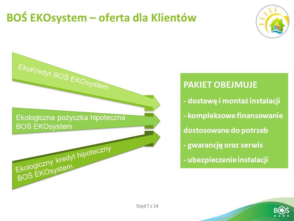 Slajd 7 z 14 BOŚ EKOsystem – oferta dla Klientów PAKIET OBEJMUJE - dostawę i montaż instalacji - kompleksowe finansowanie dostosowane do potrzeb - gwarancję oraz serwis - ubezpieczenie instalacji