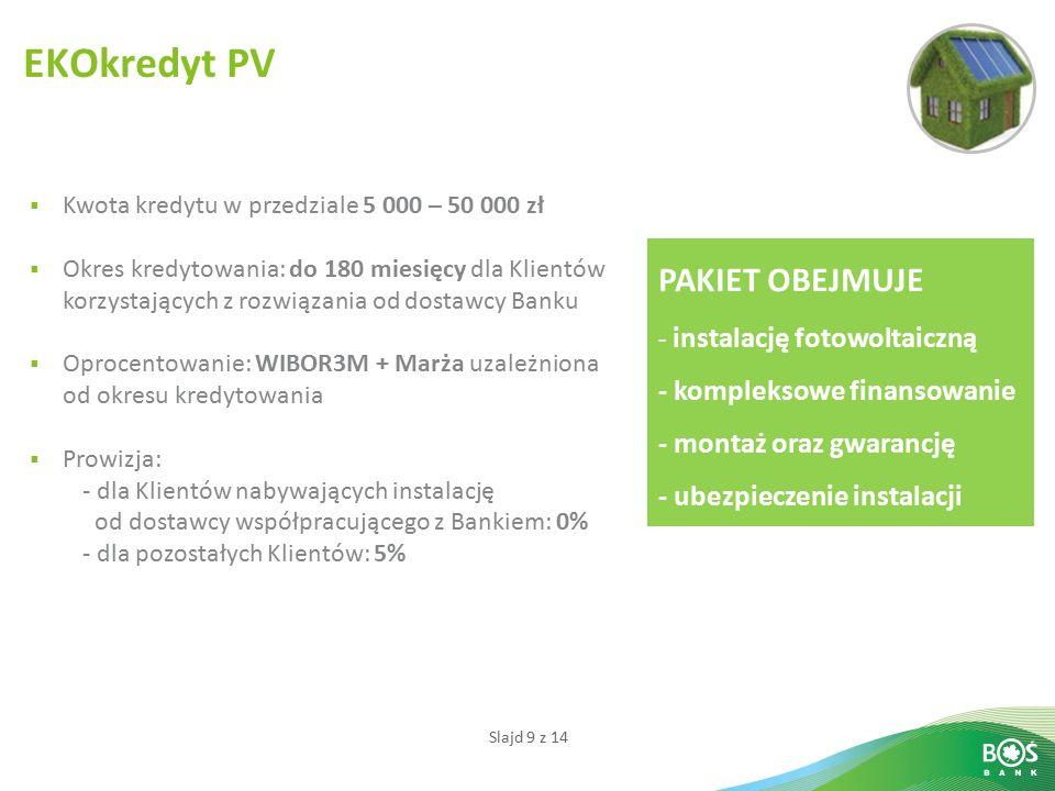 Slajd 9 z 14 EKOkredyt PV  Kwota kredytu w przedziale 5 000 – 50 000 zł  Okres kredytowania: do 180 miesięcy dla Klientów korzystających z rozwiązania od dostawcy Banku  Oprocentowanie: WIBOR3M + Marża uzależniona od okresu kredytowania  Prowizja: - dla Klientów nabywających instalację od dostawcy współpracującego z Bankiem: 0% - dla pozostałych Klientów: 5% PAKIET OBEJMUJE - instalację fotowoltaiczną - kompleksowe finansowanie - montaż oraz gwarancję - ubezpieczenie instalacji