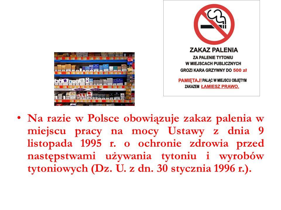 Na razie w Polsce obowiązuje zakaz palenia w miejscu pracy na mocy Ustawy z dnia 9 listopada 1995 r. o ochronie zdrowia przed następstwami używania ty