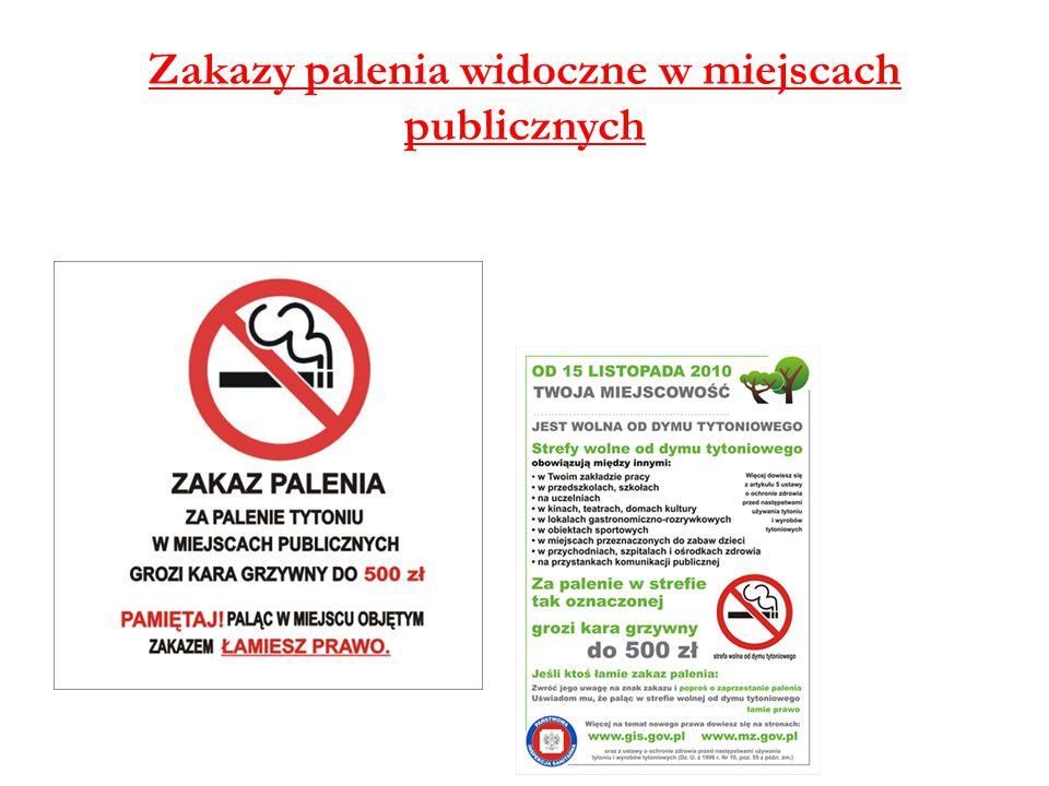 Zakazy palenia widoczne w miejscach publicznych