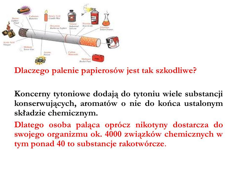 Dlaczego palenie papierosów jest tak szkodliwe? Koncerny tytoniowe dodają do tytoniu wiele substancji konserwujących, aromatów o nie do końca ustalony
