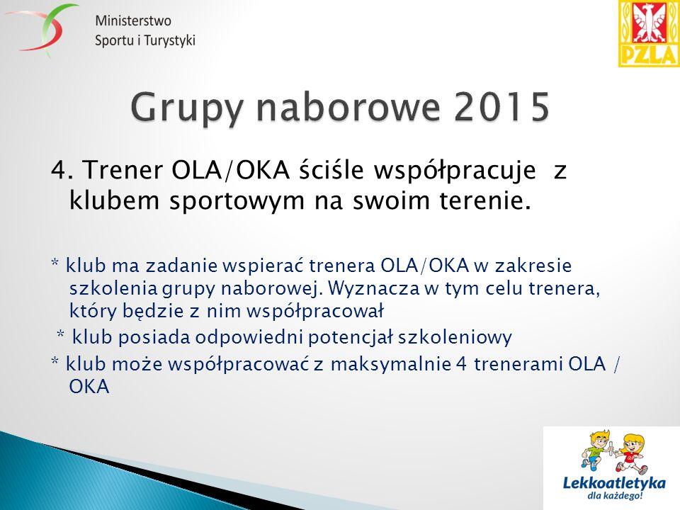 4. Trener OLA/OKA ściśle współpracuje z klubem sportowym na swoim terenie. * klub ma zadanie wspierać trenera OLA/OKA w zakresie szkolenia grupy nabor