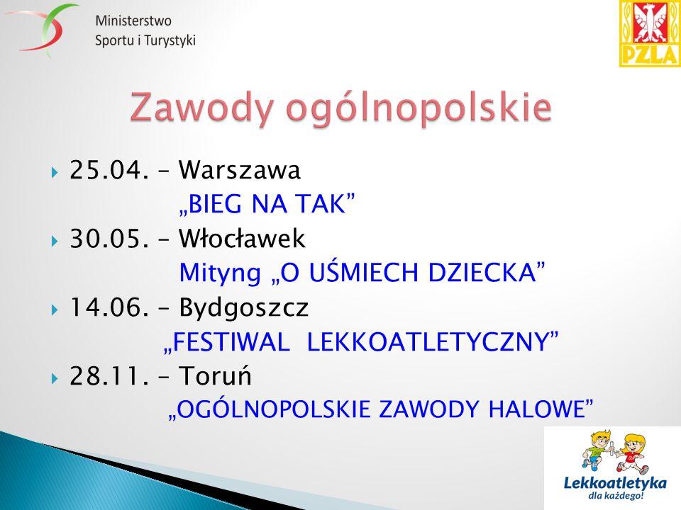 """ 25.04. – Warszawa """"BIEG NA TAK""""  30.05. – Włocławek Mityng """"O UŚMIECH DZIECKA""""  14.06. – Bydgoszcz """"FESTIWAL LEKKOATLETYCZNY""""  28.11. – Toruń """"OG"""