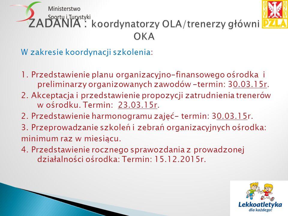 W zakresie koordynacji szkolenia: 1. Przedstawienie planu organizacyjno-finansowego ośrodka i preliminarzy organizowanych zawodów -termin: 30.03.15r.
