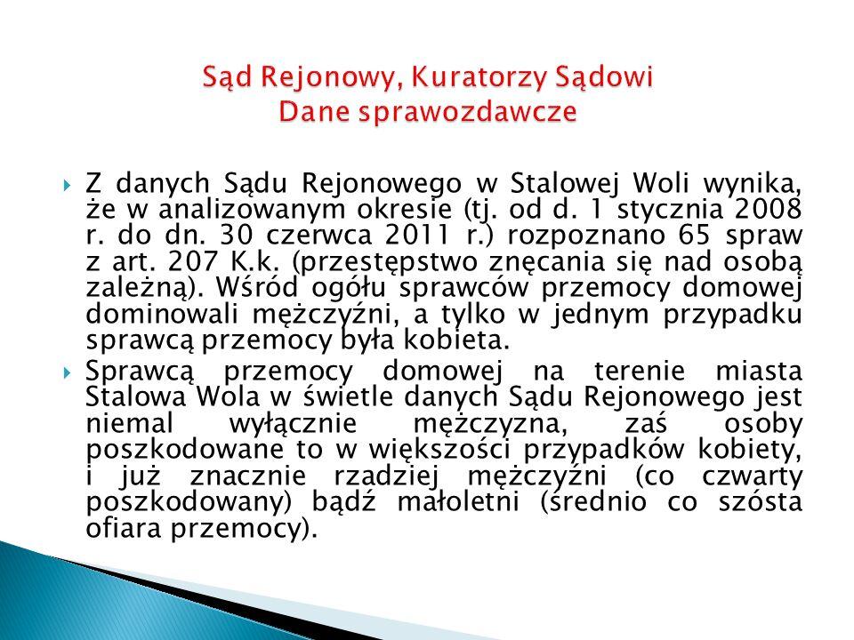  Z danych Sądu Rejonowego w Stalowej Woli wynika, że w analizowanym okresie (tj.