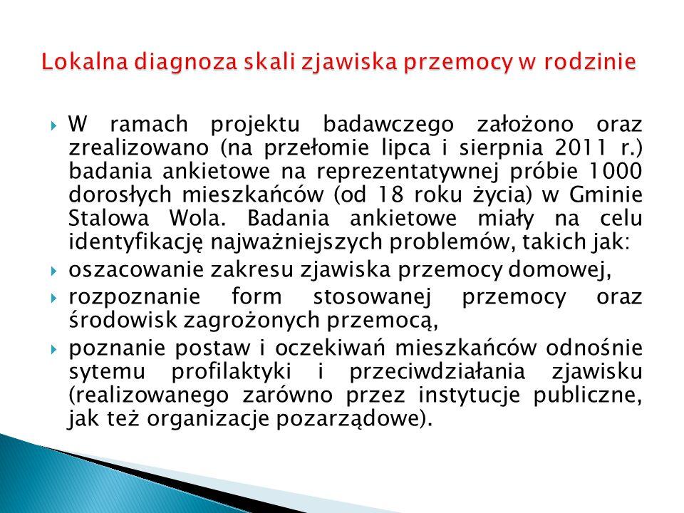  W ramach projektu badawczego założono oraz zrealizowano (na przełomie lipca i sierpnia 2011 r.) badania ankietowe na reprezentatywnej próbie 1000 dorosłych mieszkańców (od 18 roku życia) w Gminie Stalowa Wola.