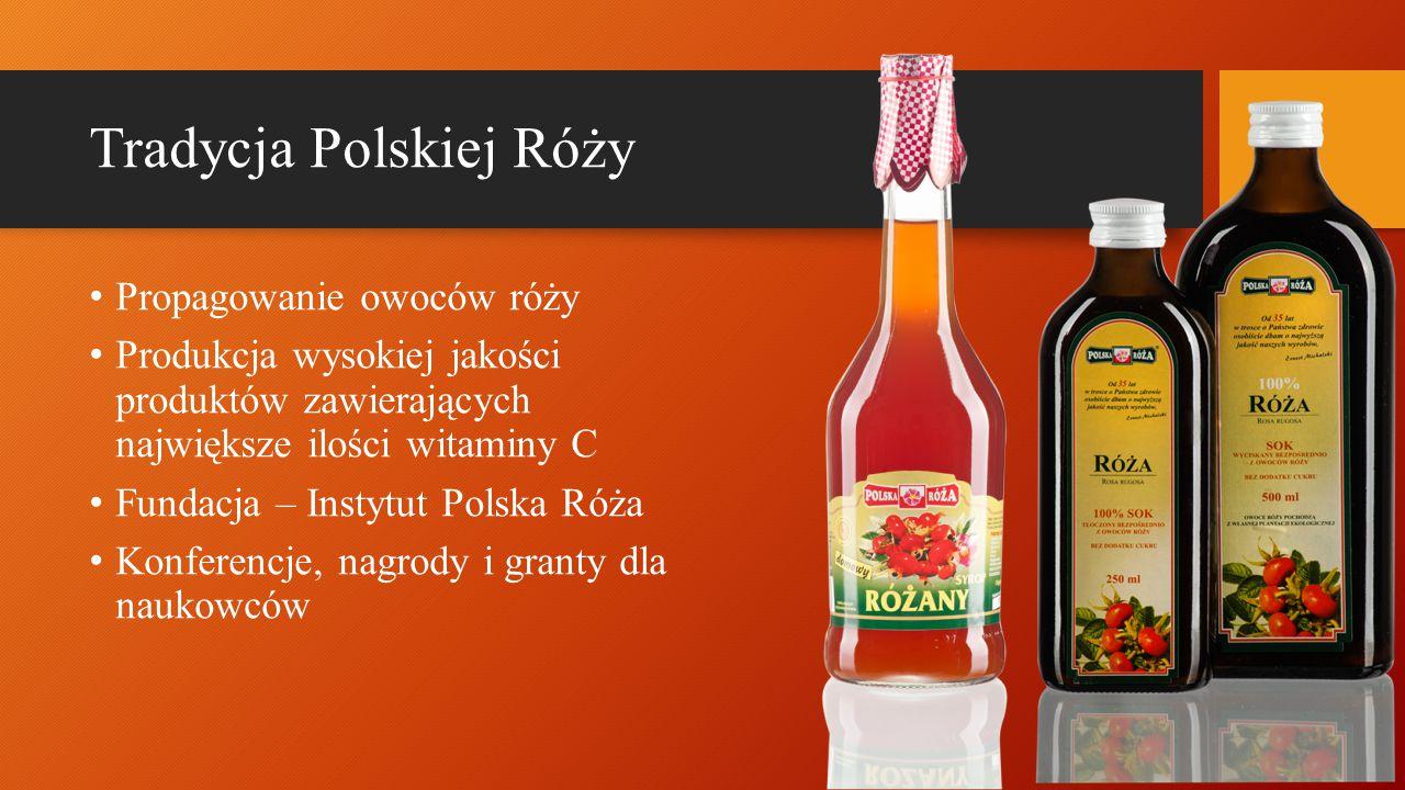 Tradycja Polskiej Róży Propagowanie owoców róży Produkcja wysokiej jakości produktów zawierających największe ilości witaminy C Fundacja – Instytut Polska Róża Konferencje, nagrody i granty dla naukowców