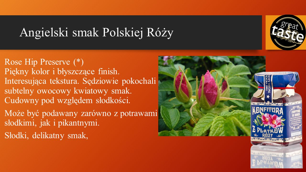 Angielski smak Polskiej Róży Rose Hip Preserve(*) Piękny kolor i błyszczące finish.