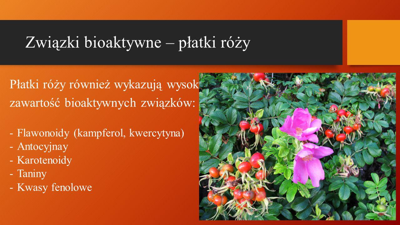 Związki bioaktywne – płatki róży Płatki róży również wykazują wysoką zawartość bioaktywnych związków: -Flawonoidy (kampferol, kwercytyna) -Antocyjnay -Karotenoidy -Taniny -Kwasy fenolowe