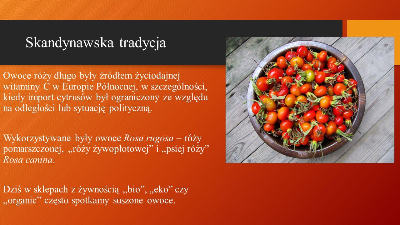 Skandynawska tradycja Owoce róży długo były źródłem życiodajnej witaminy C w Europie Północnej, w szczególności, kiedy import cytrusów był ograniczony ze względu na odległości lub sytuację polityczną.