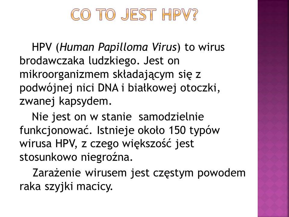 HPV (Human Papilloma Virus) to wirus brodawczaka ludzkiego. Jest on mikroorganizmem składającym się z podwójnej nici DNA i białkowej otoczki, zwanej k