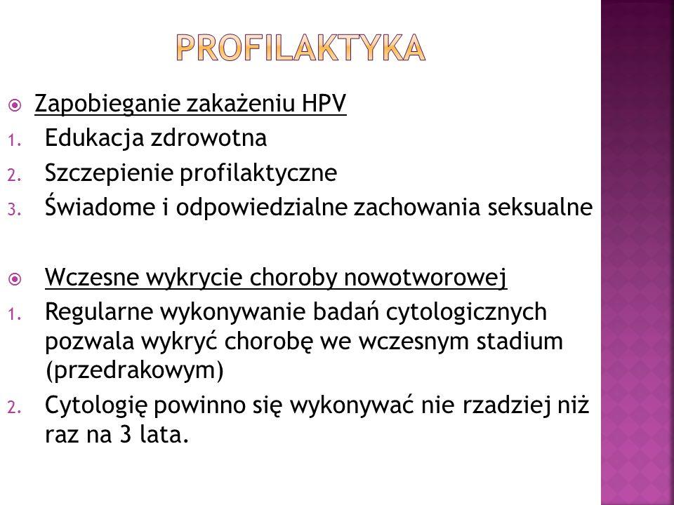  Zapobieganie zakażeniu HPV 1. Edukacja zdrowotna 2. Szczepienie profilaktyczne 3. Świadome i odpowiedzialne zachowania seksualne  Wczesne wykrycie