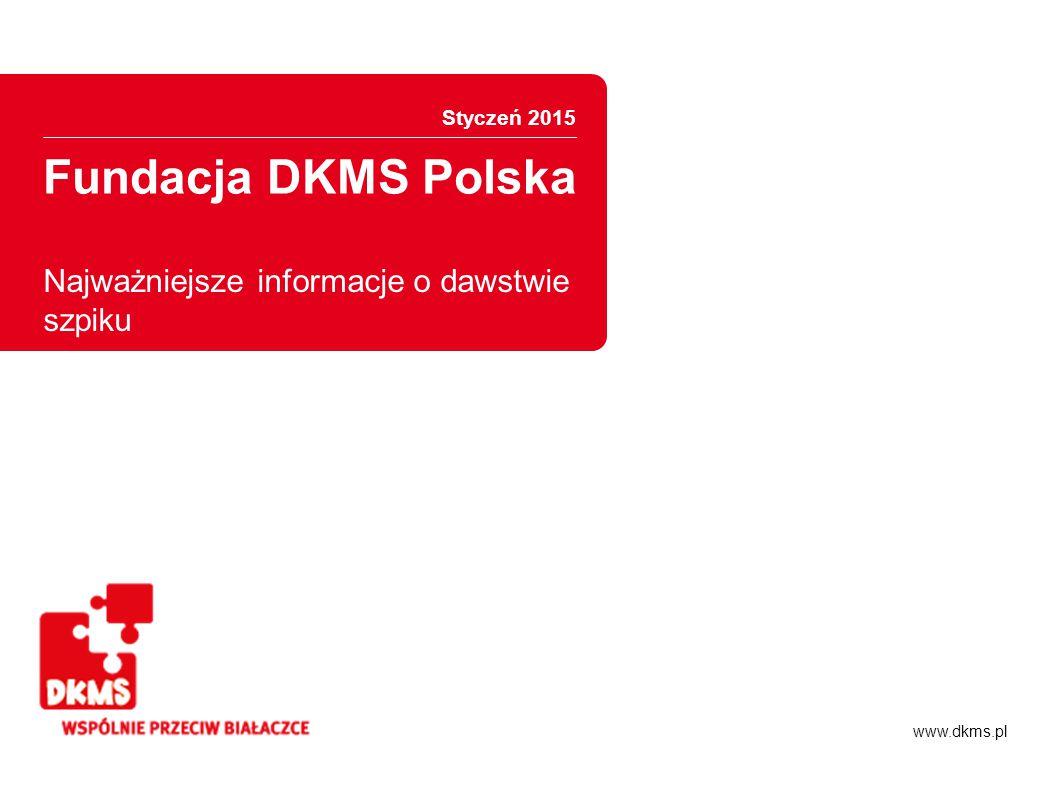 Fundacja DKMS Polska Informacje ogólne Potencjalni dawcy szpiku w Polsce Ponad 800 tysięcy zarejestrowanych potencjalnych dawców we wszystkich polskich bazach* 650 tys.