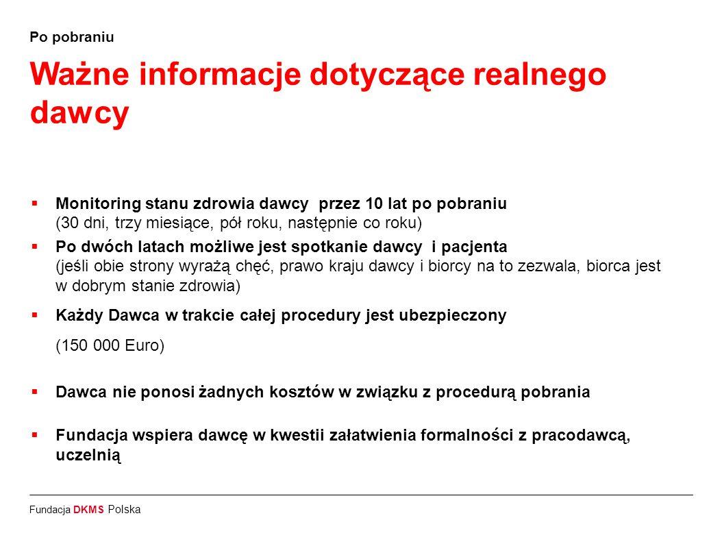 Fundacja DKMS Polska Po pobraniu Ważne informacje dotyczące realnego dawcy  Monitoring stanu zdrowia dawcy przez 10 lat po pobraniu (30 dni, trzy mie