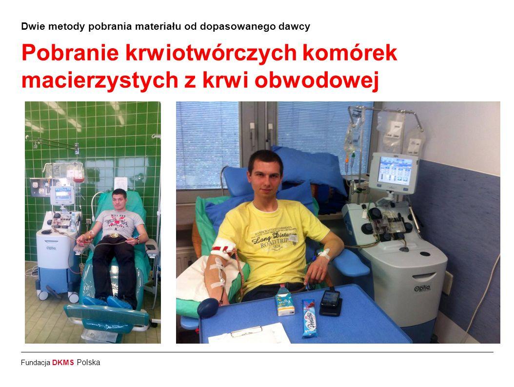 Fundacja DKMS Polska Dwie metody pobrania materiału od dopasowanego dawcy Pobranie szpiku kostnego z talerza kości biodrowej 20% wszystkich pobrań 1 dzień: Przyjęcie dawcy do kliniki pobrania 2 dzień: Pobranie szpiku pod narkozą (zabieg trwający około 1 godzinę) 3 dzień: Wypisanie z kliniki i powrót do domu * Szpik regeneruje się w organizmie dawcy do 2 tygodni po pobraniu.