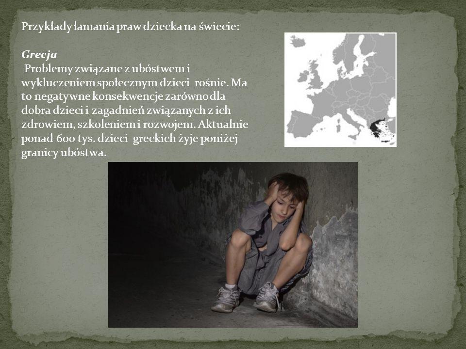 Przykłady łamania praw dziecka na świecie: Rosja Łamane są również prawa dziecka np. w rosyjskich aresztach śledczych dzieci są przetrzymywane miesiąc