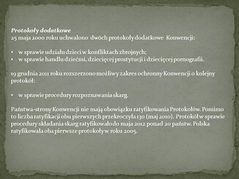 Protokoły dodatkowe 25 maja 2000 roku uchwalono dwóch protokoły dodatkowe Konwencji: w sprawie udziału dzieci w konfliktach zbrojnych; w sprawie handlu dziećmi, dziecięcej prostytucji i dziecięcej pornografii.