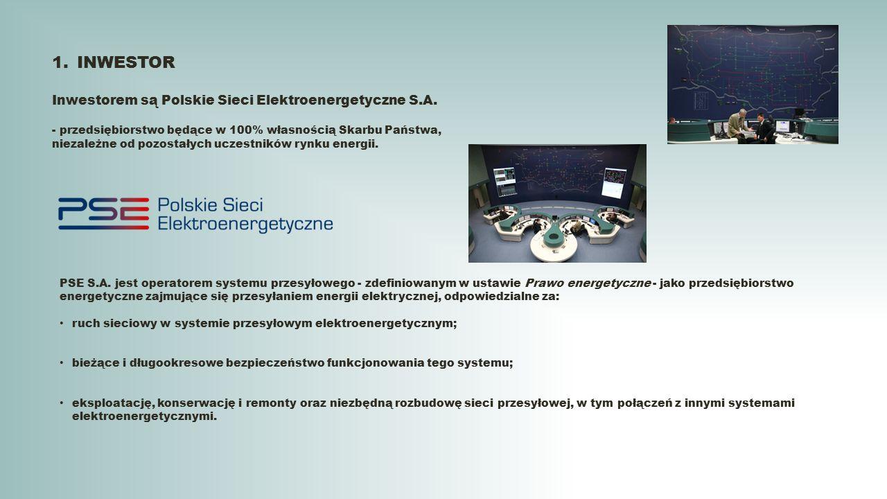 1.INWESTOR Inwestorem są Polskie Sieci Elektroenergetyczne S.A. - przedsiębiorstwo będące w 100% własnością Skarbu Państwa, niezależne od pozostałych