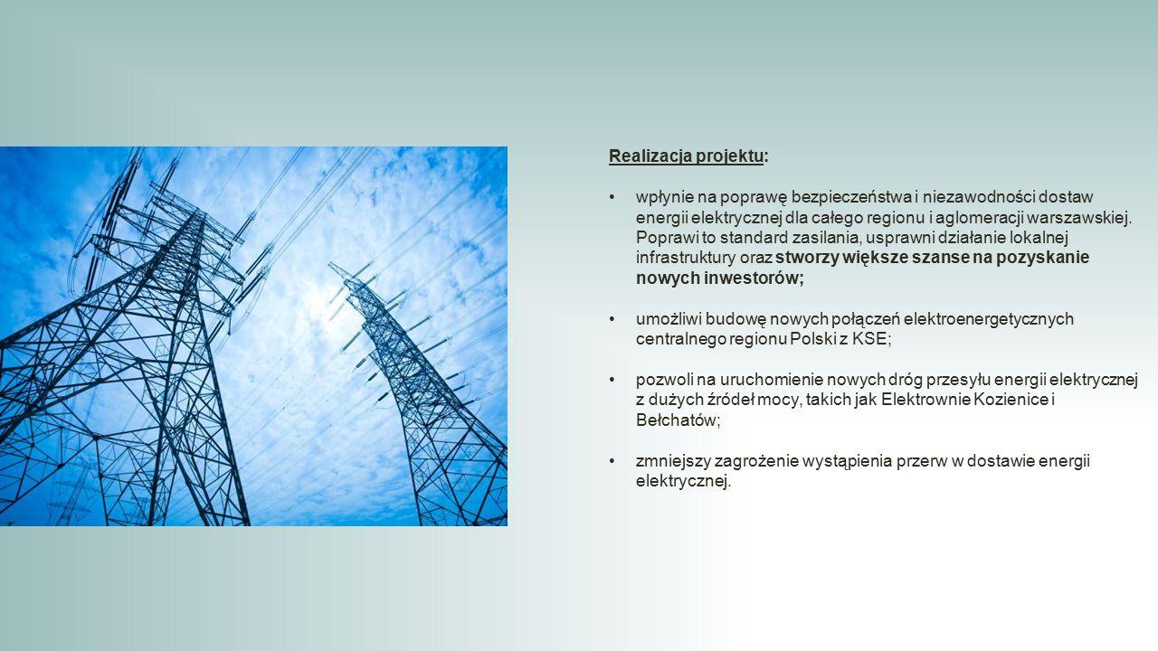 Realizacja projektu: wpłynie na poprawę bezpieczeństwa i niezawodności dostaw energii elektrycznej dla całego regionu i aglomeracji warszawskiej. Popr