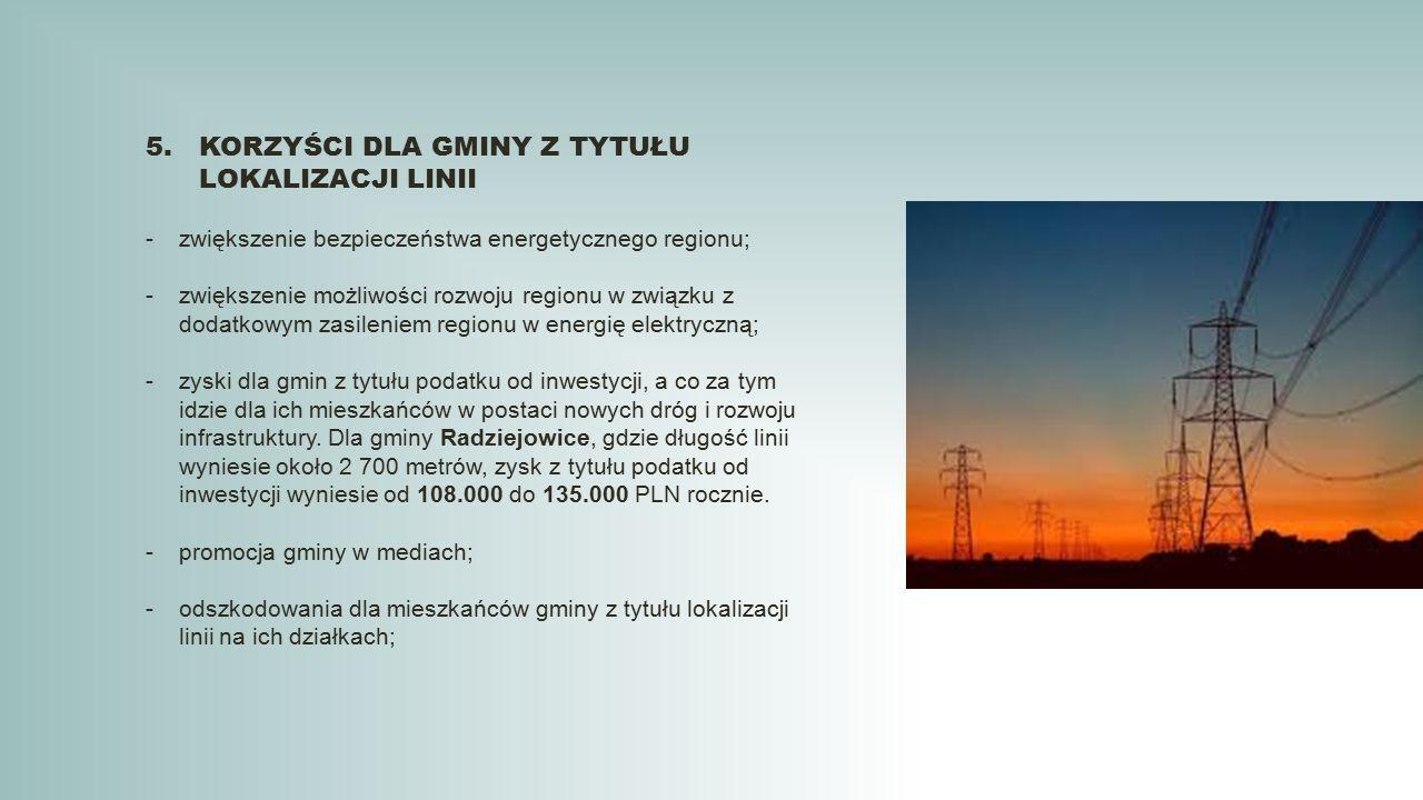 5.KORZYŚCI DLA GMINY Z TYTUŁU LOKALIZACJI LINII -zwiększenie bezpieczeństwa energetycznego regionu; -zwiększenie możliwości rozwoju regionu w związku