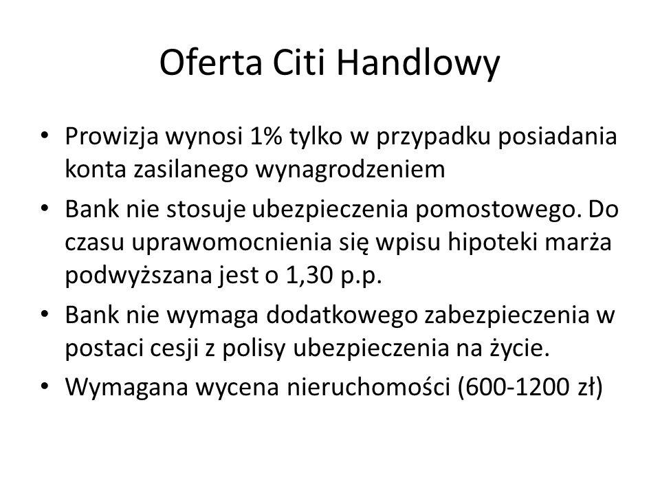 Oferta Citi Handlowy Prowizja wynosi 1% tylko w przypadku posiadania konta zasilanego wynagrodzeniem Bank nie stosuje ubezpieczenia pomostowego. Do cz