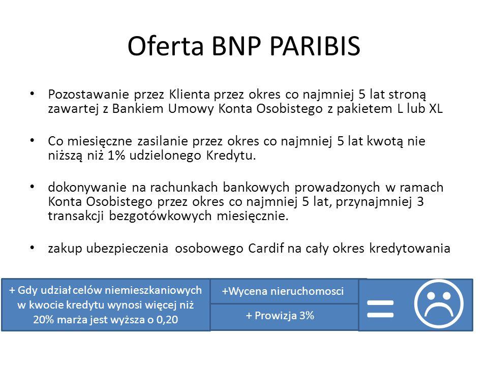 Oferta BNP PARIBIS Pozostawanie przez Klienta przez okres co najmniej 5 lat stroną zawartej z Bankiem Umowy Konta Osobistego z pakietem L lub XL Co miesięczne zasilanie przez okres co najmniej 5 lat kwotą nie niższą niż 1% udzielonego Kredytu.