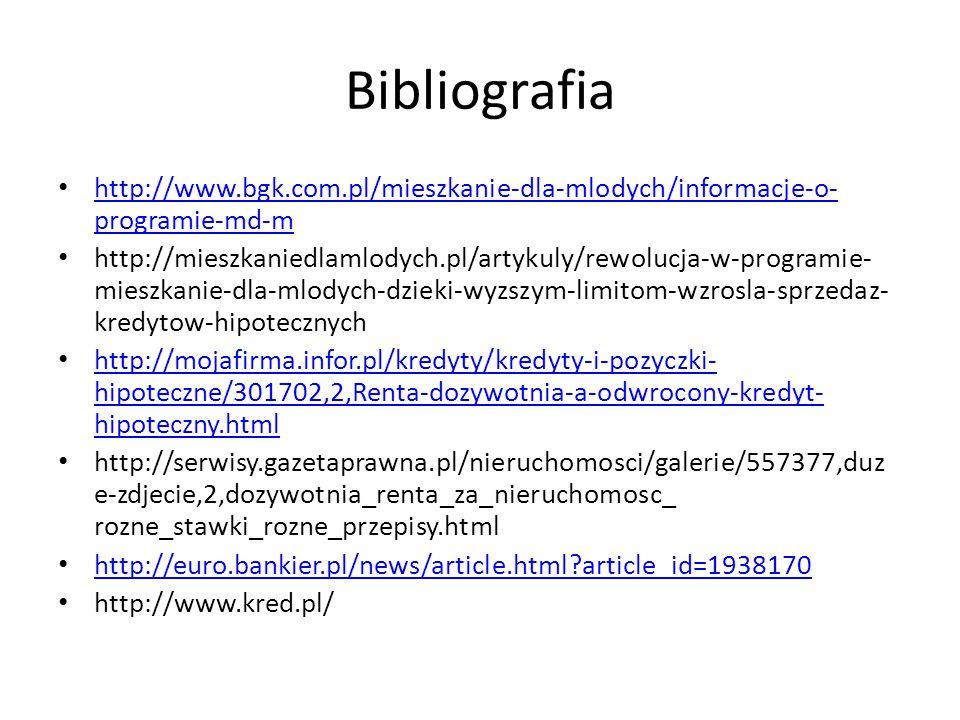 Bibliografia http://www.bgk.com.pl/mieszkanie-dla-mlodych/informacje-o- programie-md-m http://www.bgk.com.pl/mieszkanie-dla-mlodych/informacje-o- programie-md-m http://mieszkaniedlamlodych.pl/artykuly/rewolucja-w-programie- mieszkanie-dla-mlodych-dzieki-wyzszym-limitom-wzrosla-sprzedaz- kredytow-hipotecznych http://mojafirma.infor.pl/kredyty/kredyty-i-pozyczki- hipoteczne/301702,2,Renta-dozywotnia-a-odwrocony-kredyt- hipoteczny.html http://mojafirma.infor.pl/kredyty/kredyty-i-pozyczki- hipoteczne/301702,2,Renta-dozywotnia-a-odwrocony-kredyt- hipoteczny.html http://serwisy.gazetaprawna.pl/nieruchomosci/galerie/557377,duz e-zdjecie,2,dozywotnia_renta_za_nieruchomosc_ rozne_stawki_rozne_przepisy.html http://euro.bankier.pl/news/article.html?article_id=1938170 http://www.kred.pl/
