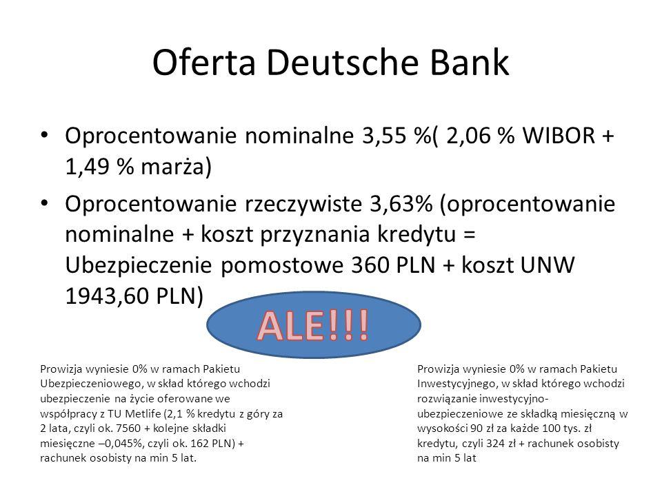 Oferta Deutsche Bank Oprocentowanie nominalne 3,55 %( 2,06 % WIBOR + 1,49 % marża) Oprocentowanie rzeczywiste 3,63% (oprocentowanie nominalne + koszt przyznania kredytu = Ubezpieczenie pomostowe 360 PLN + koszt UNW 1943,60 PLN) Prowizja wyniesie 0% w ramach Pakietu Ubezpieczeniowego, w skład którego wchodzi ubezpieczenie na życie oferowane we współpracy z TU Metlife (2,1 % kredytu z góry za 2 lata, czyli ok.