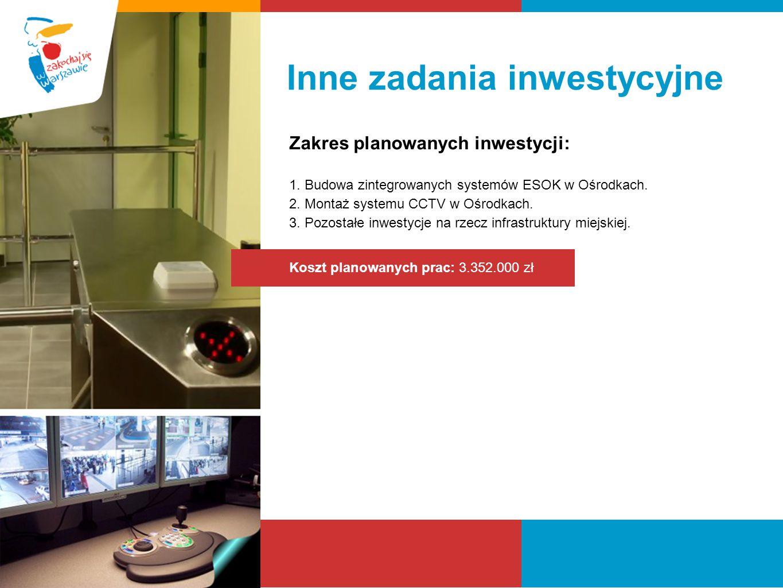 Inne zadania inwestycyjne Zakres planowanych inwestycji: 1. Budowa zintegrowanych systemów ESOK w Ośrodkach. 2. Montaż systemu CCTV w Ośrodkach. 3. Po