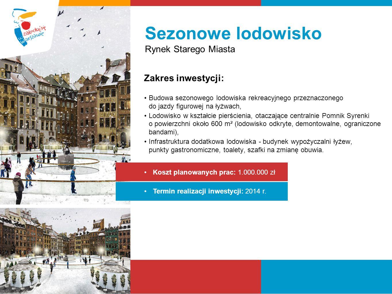 Sezonowe lodowisko Rynek Starego Miasta Zakres inwestycji: Budowa sezonowego lodowiska rekreacyjnego przeznaczonego do jazdy figurowej na łyżwach, Lod