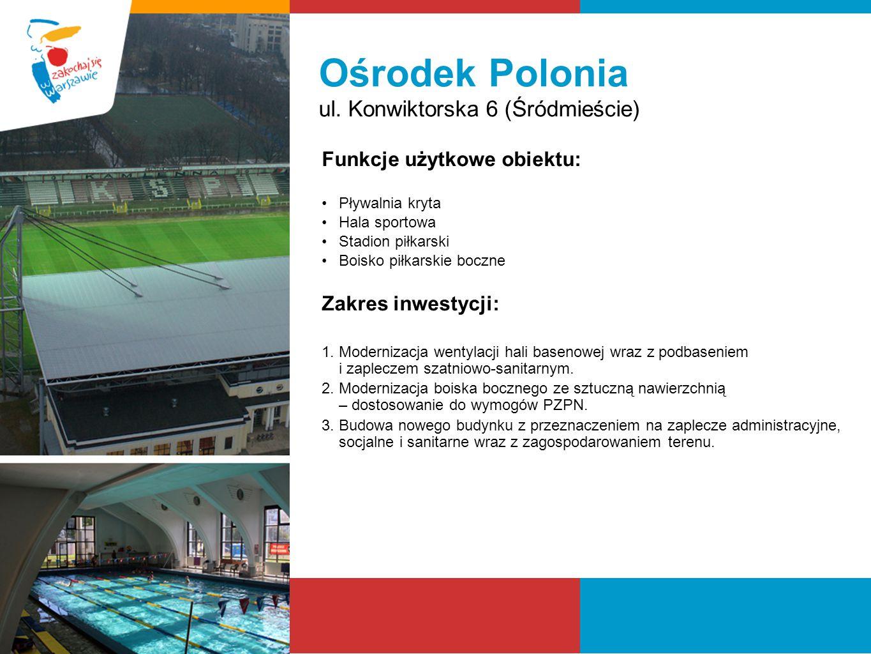 Ośrodek Polonia ul. Konwiktorska 6 (Śródmieście) Funkcje użytkowe obiektu: Pływalnia kryta Hala sportowa Stadion piłkarski Boisko piłkarskie boczne Za