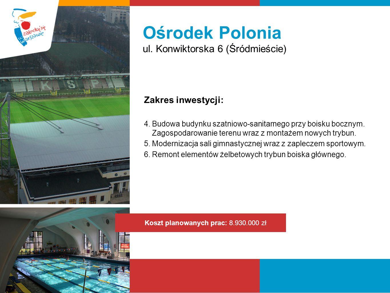 Ośrodek Polonia ul. Konwiktorska 6 (Śródmieście) Zakres inwestycji: 4.Budowa budynku szatniowo-sanitarnego przy boisku bocznym. Zagospodarowanie teren