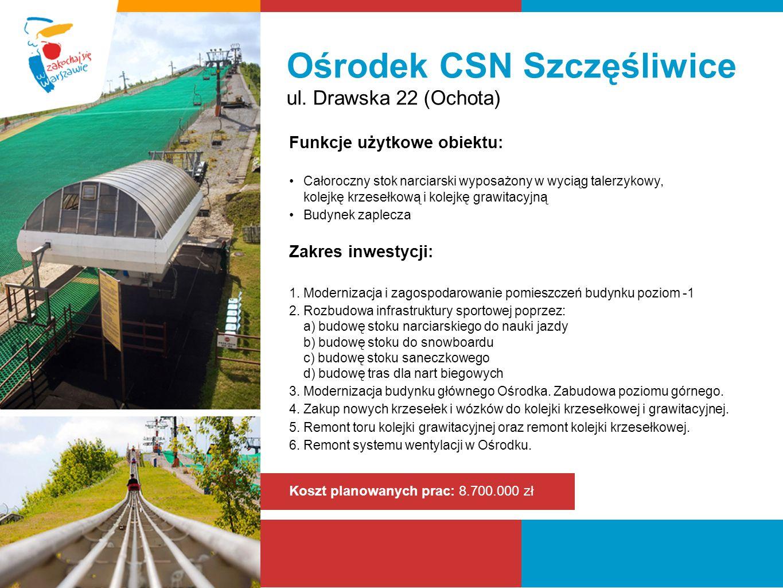 Ośrodek CSN Szczęśliwice ul. Drawska 22 (Ochota) Funkcje użytkowe obiektu: Całoroczny stok narciarski wyposażony w wyciąg talerzykowy, kolejkę krzeseł