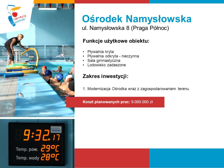 Ośrodek Namysłowska ul. Namysłowska 8 (Praga Północ) Funkcje użytkowe obiektu: Pływalnia kryta Pływalnia odkryta - nieczynna Sala gimnastyczna Lodowis