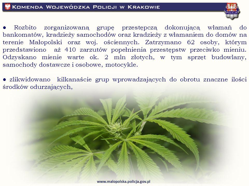 ● Rozbito zorganizowaną grupę przestępczą dokonującą włamań do bankomatów, kradzieży samochodów oraz kradzieży z włamaniem do domów na terenie Małopolski oraz woj.