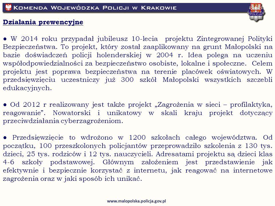 Działania prewencyjne ● W 2014 roku przypadał jubileusz 10-lecia projektu Zintegrowanej Polityki Bezpieczeństwa.