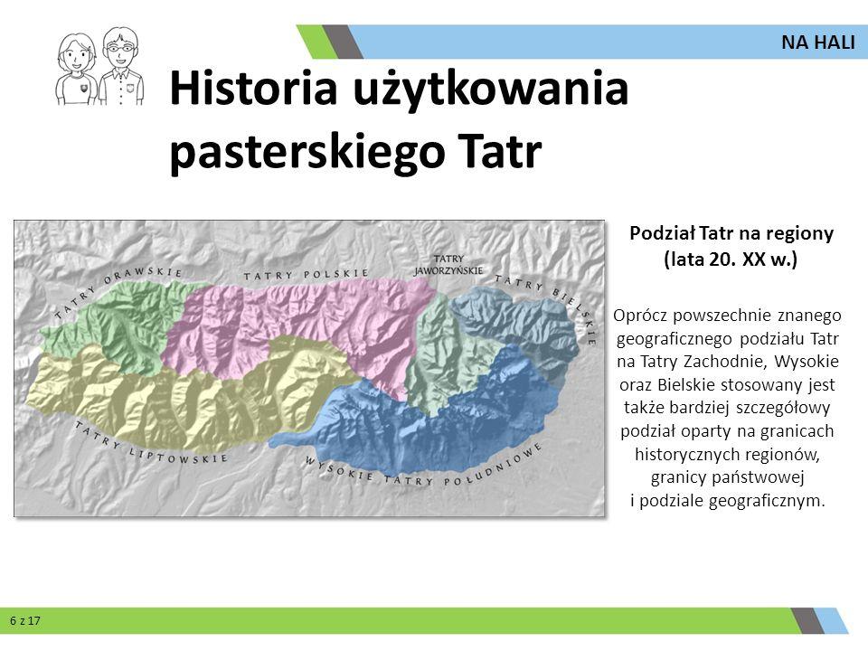 Oprócz powszechnie znanego geograficznego podziału Tatr na Tatry Zachodnie, Wysokie oraz Bielskie stosowany jest także bardziej szczegółowy podział op