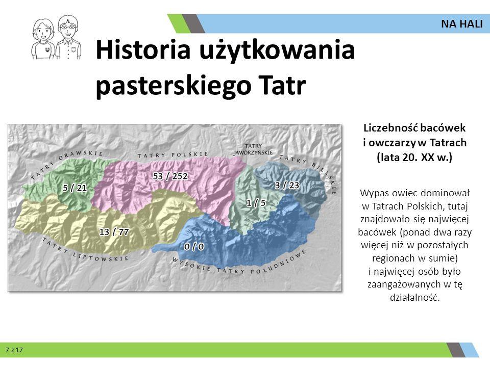 Wypas owiec dominował w Tatrach Polskich, tutaj znajdowało się najwięcej bacówek (ponad dwa razy więcej niż w pozostałych regionach w sumie) i najwięc