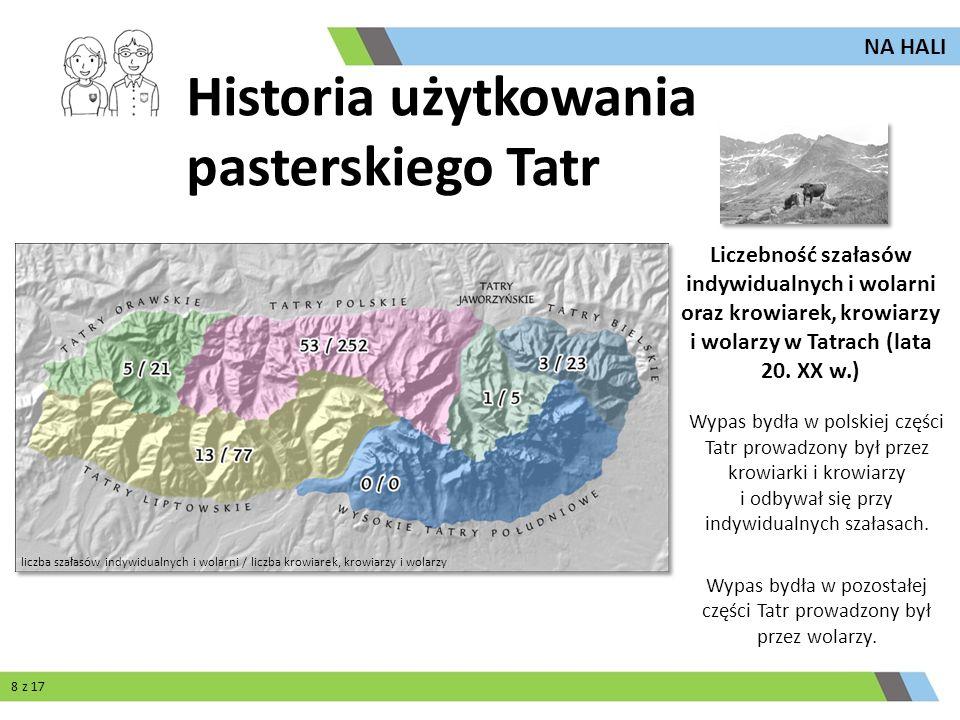 Regionami, w których wypasano najwięcej owiec, były Tatry Polskie i Tatry Bielskie.