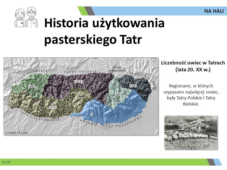 Regionami, w których wypasano najwięcej owiec, były Tatry Polskie i Tatry Bielskie. Liczebność owiec w Tatrach (lata 20. XX w.) 1 kropka = 1 owca NA H