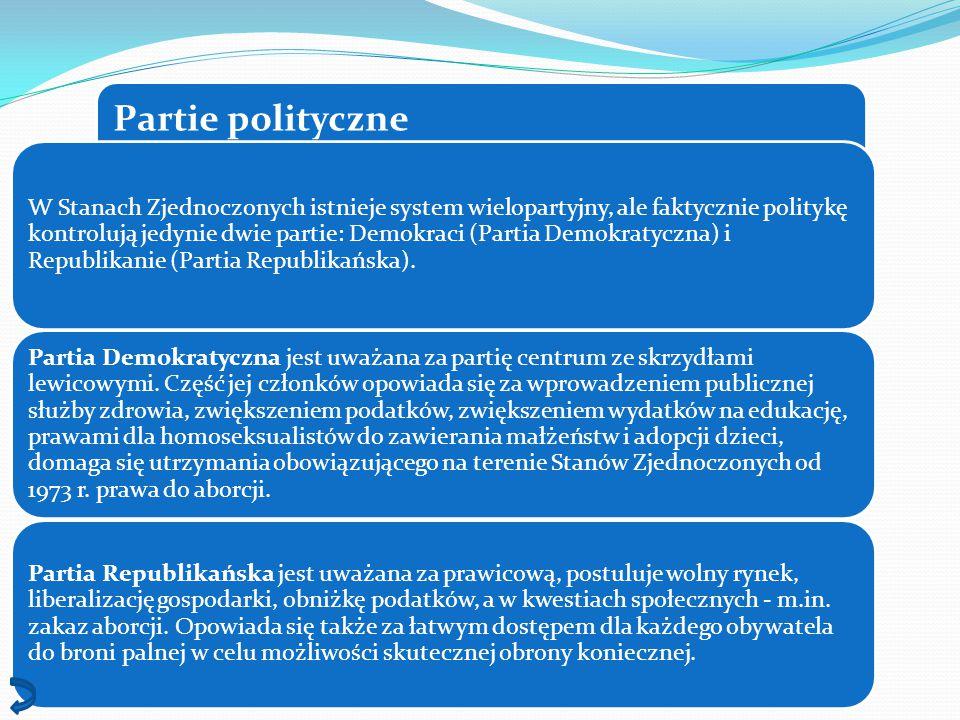Partie polityczne W Stanach Zjednoczonych istnieje system wielopartyjny, ale faktycznie politykę kontrolują jedynie dwie partie: Demokraci (Partia Dem