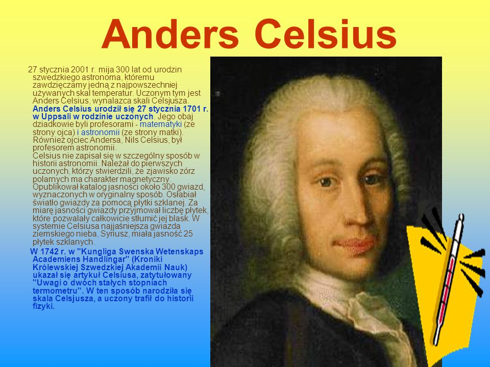 Anders Celsius 27 stycznia 2001 r.