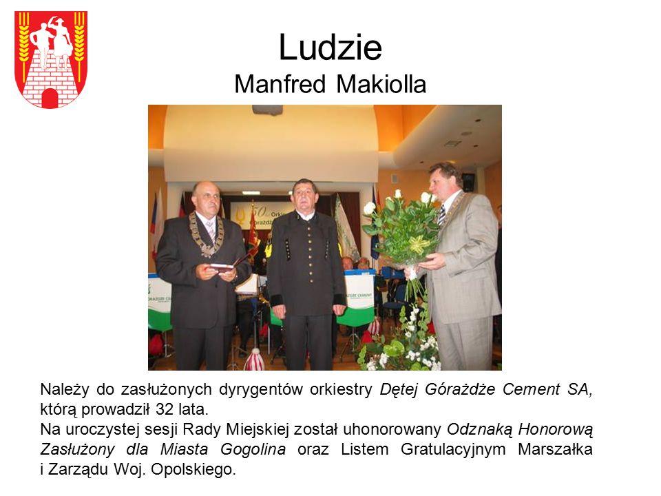 Ludzie Manfred Makiolla Należy do zasłużonych dyrygentów orkiestry Dętej Górażdże Cement SA, którą prowadził 32 lata. Na uroczystej sesji Rady Miejski