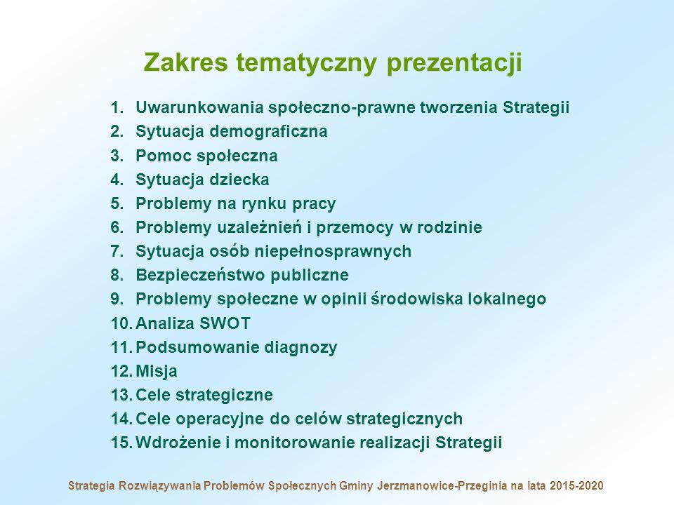 Zakres tematyczny prezentacji 1.Uwarunkowania społeczno-prawne tworzenia Strategii 2.Sytuacja demograficzna 3.Pomoc społeczna 4.Sytuacja dziecka 5.Pro